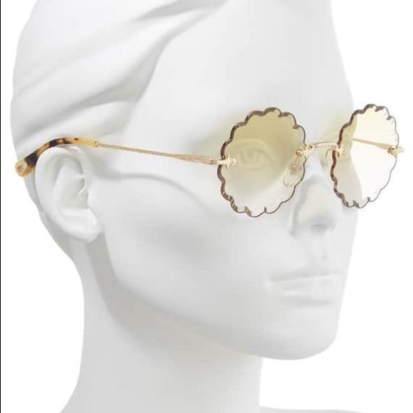 bd6ef746def2 Chloe Accessories - Chloe Rosie 60mm Scalloped Rimless Sunglasses
